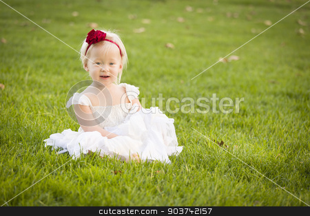 Adorable Little Girl Wearing White Dress In A Grass Field stock photo, Beautiful Adorable Little Girl Wearing White Dress Sitting In A Grass Field. by Andy Dean