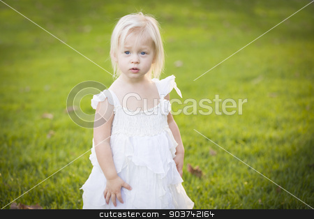 Adorable Little Girl Wearing White Dress In A Grass Field stock photo, Beautiful Adorable Little Girl Wearing White Dress In A Grass Field. by Andy Dean