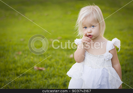 Adorable Little Girl Wearing White Dress In A Grass Field stock photo, Adorable Little Girl Pointing At The Camera Wearing White Dress In A Grass Field. by Andy Dean
