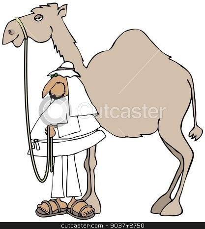 Arab and his camel stock photo, This illustration depicts an Arab man holding the reins to his camel. by Dennis Cox