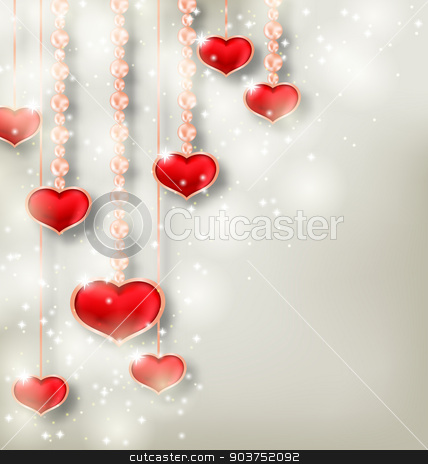 Shimmering background with hanging hearts for Valentine Day