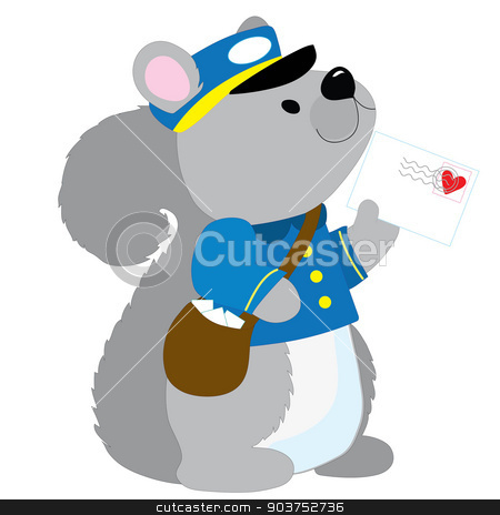 Squirrel Postman stock vector clipart, A cute little squirrel dressed like a postman is delivering a letter with a heart stamp by Maria Bell