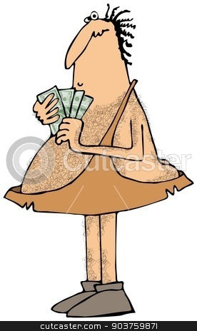 Caveman with a handful of money stock photo, This illustration depicts a caveman holding a handful of cash. by Dennis Cox