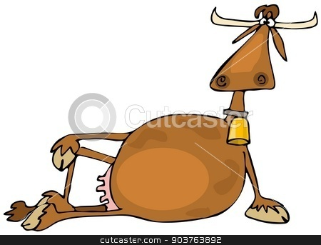 Cow resting stock photo, This illustration depicts a cow resting on its side propped up by one leg. by Dennis Cox