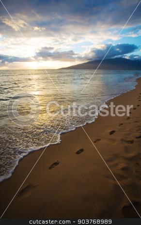 Kihei Sunset and Beach Footprints stock photo, Sunset and Beach Footprints on Maui in Hawaii by Scott Griessel