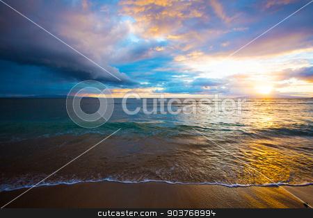 Kihei Beach Sunrise stock photo, Sunrise at Kihei Beach on Maui in Hawaii by Scott Griessel