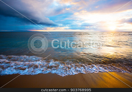Sunrise on Beach on Maui stock photo, Beautiful Hawaiian Sunset at Kihei Beach on Maui by Scott Griessel