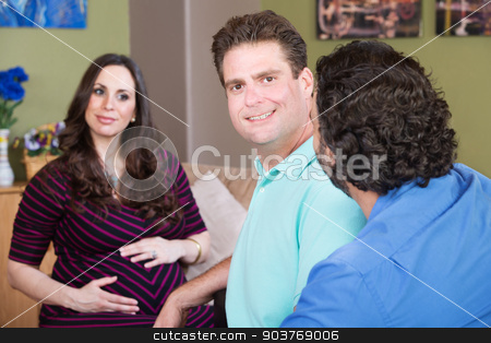 Man with Partner and Pregnant Woman stock photo, Man with partner and expecting woman touching her belly by Scott Griessel