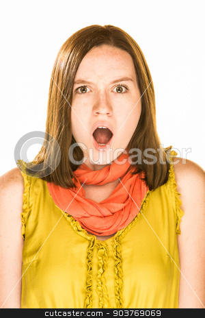 Afraid Expression stock photo, Pretty girl with an afraid expression on white background by Scott Griessel