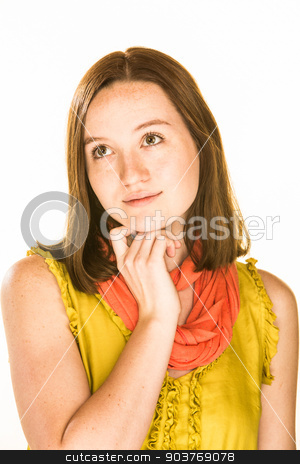 Daydreaming Expression stock photo, Pretty daydreaming girl on a white background by Scott Griessel
