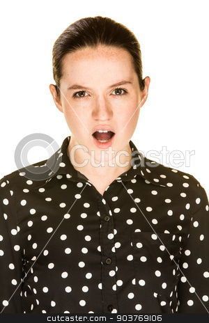 Unhappy Girl stock photo, Unhappy caucasian female against a white background by Scott Griessel
