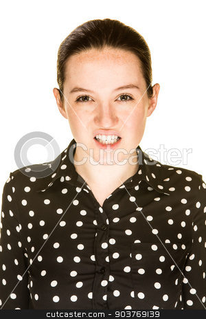 Attractive Girl Sneers stock photo, Young sneering caucasian woman looks towards you by Scott Griessel