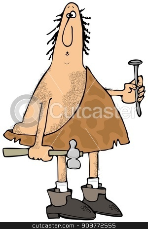 Caveman carpenter stock photo, This illustration depicts a caveman holding a hammer and large nail. by Dennis Cox