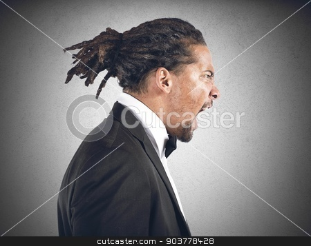 Angry man stock photo, An angry man screams all his anger by Federico Caputo