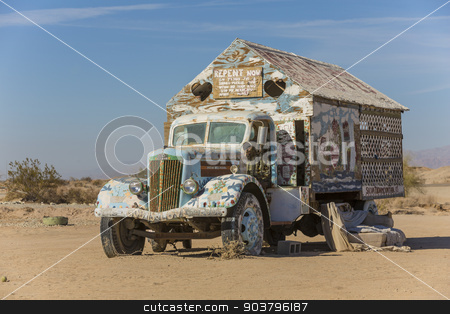 Bible Truck Outsider Art Installation stock photo, CALIPATRIA, IMPERIAL COUNTY, CALIFORNIA, USA - NOVEMBER 28: Bible truck outsider art installation at Salvation Mountain on November 28, 2014 in at Calipatria, California, USA. by Scott Griessel