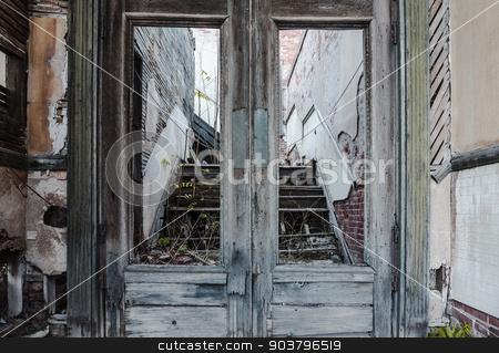 Abandoned Doorway stock photo, Broken wooden doors at abandoned building in Jerome Arizona by Scott Griessel