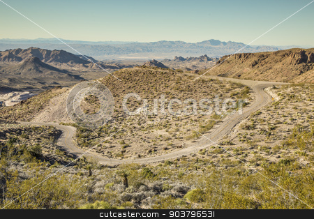Remote Portion of Route 66 stock photo, Original portion of Route 66 highway near Oatman Arizona USA by Scott Griessel