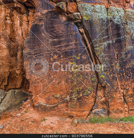 Large Panel of Petroglyphs stock photo, Panel of Native American rock art in the Sinagua Beaver Creek style by Scott Griessel