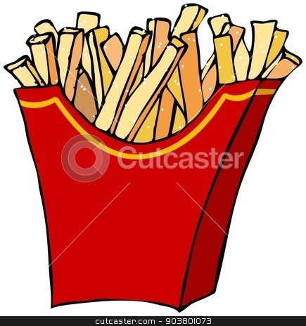 French fries stock photo, This illustration depicts a container of French fries. by Dennis Cox