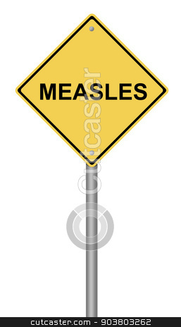 Measles Warning Sign stock photo, Yellow warning sign with the text Measles. by Henrik Lehnerer