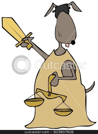 Canine lady justice stock photo, This illustration depicts a blindfolded canine lady justice holding scales and a sword. by Dennis Cox