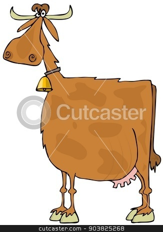 Brown spotted cow stock photo, This illustration depicts a side view of a brown, spotted cow by Dennis Cox