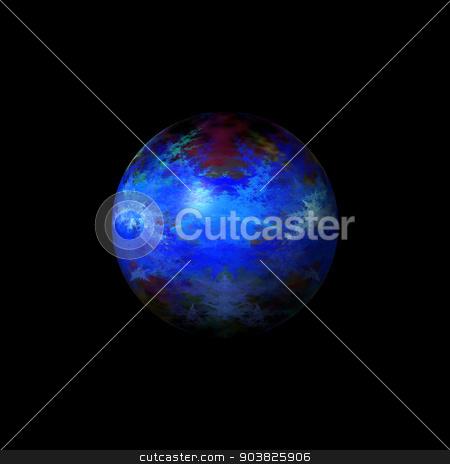 Abstract Blue Globe stock photo, Blue color fractal globe on a black background. by Henrik Lehnerer