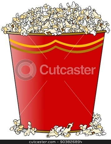Giant bucket of popcorn stock photo, This illustration depicts a giant bucket of buttered popcorn. by Dennis Cox