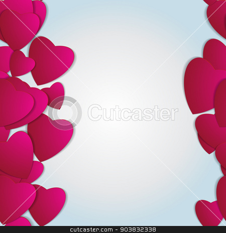 Valentines day. Abstract paper hearts. Love. Valentine background with hearts