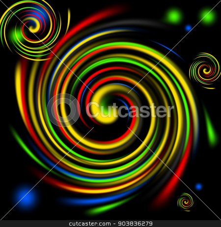 Color Swirls stock photo, Multi color swirls background on black. by Henrik Lehnerer