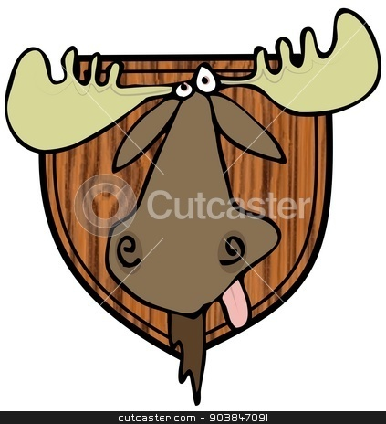 Moose head mount stock photo, This illustration depicts a taxidermy head mount of a bull moose. by Dennis Cox
