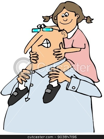 Grandpa giving granddaughter a ride stock photo, This illustration depicts a Grandpa giving his granddaughter a piggy back ride. by Dennis Cox