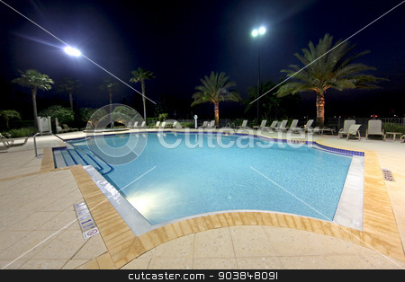 Swimming Pool stock photo, A large community swimming pool in Florida by Lucy Clark