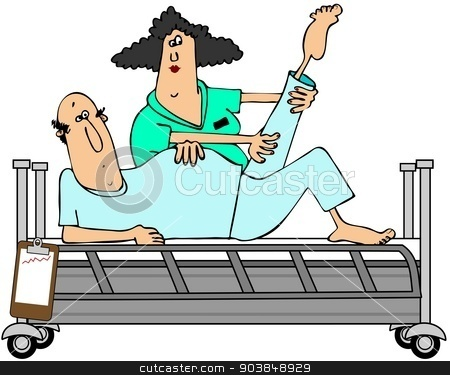 Patient in rehab stock photo, This illustration depicts a male patient having his knee rehabilitated by a female worker. by Dennis Cox