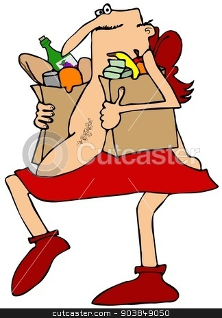 Cupid carrying groceries stock photo, This illustration depicts Cupid carrying two sacks of groceries. by Dennis Cox