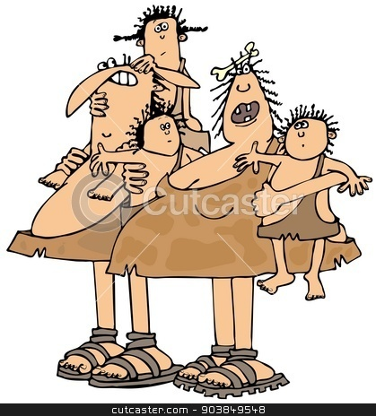 Neanderthal family stock photo, This illustration depicts a Neanderthal family. by Dennis Cox