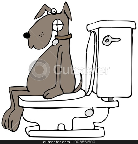 Dog on a toilet stock photo, This illustration depicts a dog with an embarrassed expression sitting on a toilet. by Dennis Cox