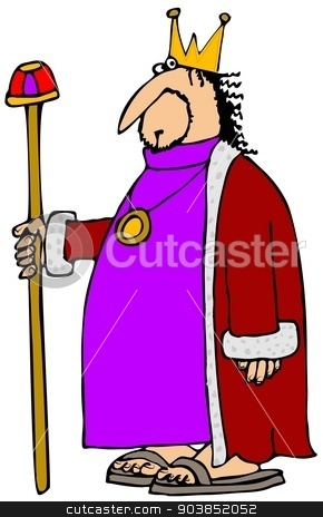 King holding his staff stock photo, This illustration depicts a king wearing a red robe holding on to his staff. by Dennis Cox