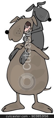Doggy daddy stock photo, This illustration depicts a Daddy dog giving his pup a piggy-back ride. by Dennis Cox