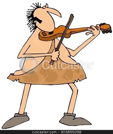 Caveman playing a violin stock photo, This illustration depicts a caveman playing a violin. by Dennis Cox