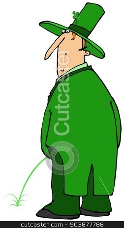 St. Patrick's stream stock photo, This illustration depicts an Irish Leprechaun taking a green pee. by Dennis Cox
