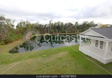 Yard and Pond stock photo, A yard and a pond at a home in Florida by Lucy Clark