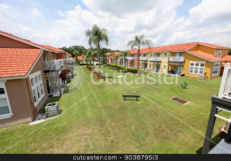 Green Space stock photo, A communal grass area in a resort in florida by Lucy Clark