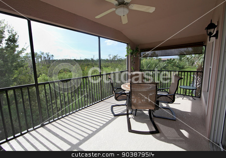 Balcony stock photo, A balcony with a view over the trees in the conservation area by Lucy Clark