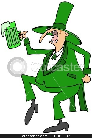 Leprechaun dance stock photo, This illustration depicts a skinny Irish leprechaun dancing while holding a mug of green beer. by Dennis Cox