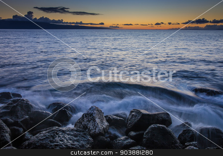 Crashing Waves on Beach stock photo, Waves crashing into beach on Maui Hawaii by Scott Griessel