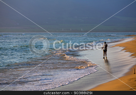 Kihei Beach with Woman Fishing stock photo, Maui Kihei Beach with distant woman fishing by Scott Griessel