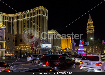 Las Vegas Strip at Christmas stock photo, LAS VEGAS NV/USA - DECEMBER 24:  The Las Vegas Strip on Christmas Eve with Venetian Hotel and Casino. December 24, 2014 in Las Vegas, NV, USA.  by Scott Griessel