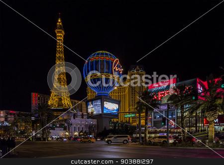 Las Vegas Strip stock photo, LAS VEGAS NV/USA - DECEMBER 24:  The Las Vegas Strip on Christmas Eve with Paris Las Vegas Hotel and Casino. December 24, 2014 in Las Vegas, NV, USA.  by Scott Griessel