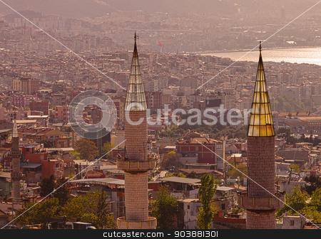Minarets in Izmir Turkey stock photo, Two minarets in the Turkish port city of Izmir by Scott Griessel